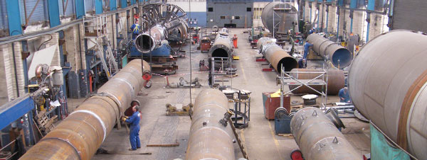 Pressure vessels being assembled